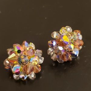 💕Vintage Aurora Borealis Clip Earings